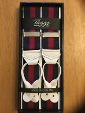 TAGGS PREMIUM NAVY/BURGUNDY RIGID STRIPE LEATHER END BRACES