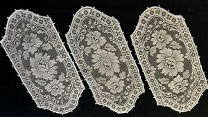 "Three Edwardian Cute Light Ecru Lace Rectangular Doilies Floral Motif 13 1/2x 7"""