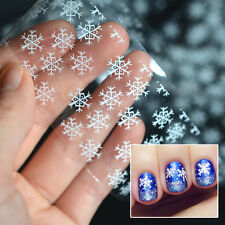 New Christmas Nail Art Stickers Decals White Snowflakes Paper Manicure Decor