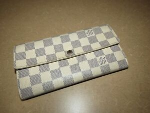 Louis Vuitton Damier Azur Canvas Sarah Long Bi Fold Envelope Wallet