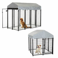 Outdoor Dog Kennel Run House Crate Cage Enclosure Anti-UV Roof Patio Pet Shelter