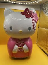 Hello Kitty Piggy Bank Ceramic  Pink White Flowers Japanese Kimono Sanrio 2011