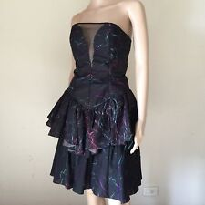 Vintage 80s Black COLOUR Slashed STRAPLESS Organza RUFFLE Party COCKTAIL Dress