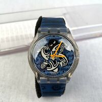 Swatch SUPK106 Turtle Turn Men's Wrist Watch Quartz Blue Silicone Swiss Analogue