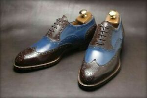 Handmade men two tone spectator shoes, brown and blue dress shoes, wingtip shoes