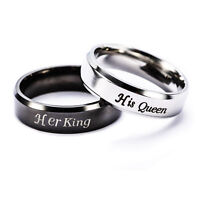 Her King / His Queen Lover Couple Rings Stainless Steel Rings Love Promise Rings