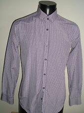 River Island Purple/White checked smart long sleeved shirt mens - Medium