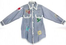 70s Embroidered Sheer Chambray 12 Months Butterfly Birds Shirt Top Boho Hippie