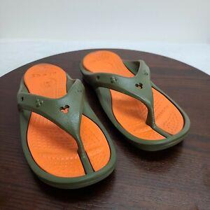 Crocs Disney Thong Flip Flop Sandals Green Orange Mickey Mouse Unisex M/10 W/12