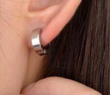 Silver Clip On Cuff Wrap Hoop Stainless Steel Earrings Non Pierced Ears UK E95