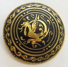 Grand bouton ancien en metal, damasquiné griffon chimère button  3,5 cm