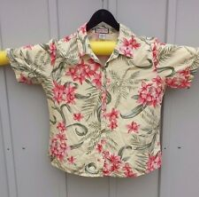 Womens L Jamaica Bay yellow ss button aloha shirt yellow with floral design