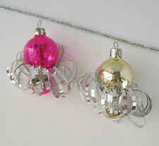 Set 2 Lantern Vintage Xmas Decor Christmas Russian Glass Pink Gold Ornament Ussr