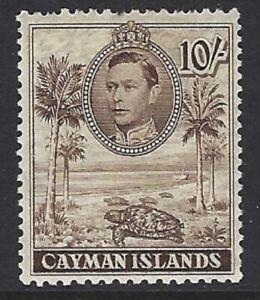 CAYMAN ISLANDS 1938 KG6 10/- Chocolate MLH