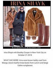 Mango  Camel Lapels Teddy Faux Fur Jacket Coat Bloggers Celebrities Fav S BNWt