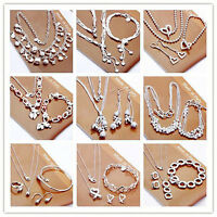 Fashion Jewelry 925Solid Silver Necklace/Bracelet/Bangle/Ring/Earrings Sets Gift