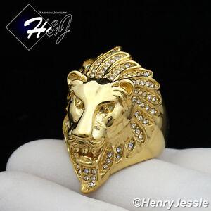 MEN's Stainless Steel BLING CZ Gold Lion King Face Ring Size 8-13*GR111