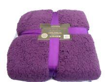 Purple Teddy Fleece Throw /Blanket  Luxury Soft Double Warm Large 150x200cm