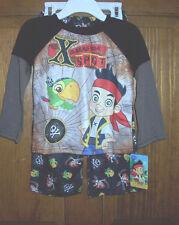 Jake and the Neverland Pirates Disney Brown Boys Long Pajamas Toddler 2T NWT