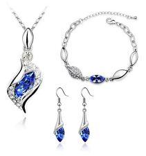 Blu Reale Set Gioielli occhi di cristallo Orecchini a goccia collana e bracciale