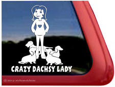 Crazy Dachshund Lady ~ High Quality Vinyl Dog Window Decal Sticker