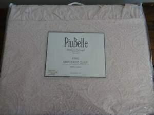PIU BELLE Portugal FARMHOUSE Rag Edge RUFFLE PINK MATELASSE Cotton KING COVERLET