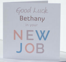 Personalised Good luck in your New Job Card. Leaving Card. Stylish, clean design