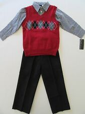 NWT Boys 3pc Suit *Sz 5*Shirt-Sweater Vest-Pants Childs Portrait School Outfit