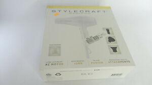 Stylecraft Tri-Plex 3000 Professional Hair Dryer in White - SEE DETAILS!!!