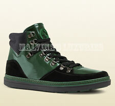 $720 GUCCI MENS SNEAKERS CONTRAST COMBO HIGHTOP LEATHER LOGO BOOTS 10.5G 11.5 45