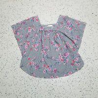 Time and Tru Women's Shirt ~ Sz XL ~ Blue & White ~ Floral ~ Short Sleeve