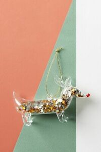 Anthropologie Reindeer Dachshund Dog Confetti Filled Glitter Glass Ornament NEW