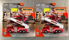MATCHBOX 2020 WORKING RIGS PIERCE VELOCITY AERIAL PLATFORM FIRE TRUCK (LOT OF 2)