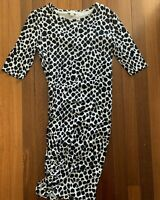 Witchery black white bodycon dress Size 10 S M polka dot corporate party ruching
