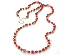 AB & Red Plastic Bead Necklace