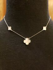 "Sterling Silver White MOTHER-OF-PEARL 3 CLOVER Necklace, Adjusts 16"" Or 18"" Long"