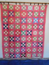 """Vintage Multi-colored Quilt Hand Quilted * Great Condition 72"""" x 92"""""""