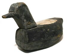 EARLY 20TH C AMERICAN VINT PRIMITIVE HAND CARVED WOODEN DUCK DECOY, W/ORIG PAINT