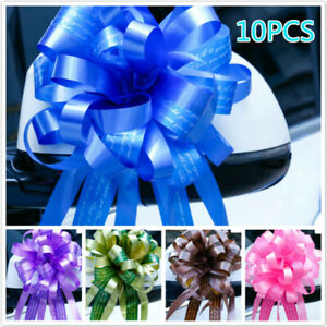 10 X Dichromatic Pull Bows Wedding Car Party Decor Gift Packing Flower Ribbons