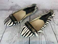 Michael Kors Womens 8.5 M Black White Zebra Calf Hair Ballet Flat Shoes 73r