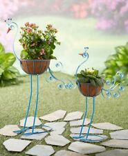 Peacock Bird Planters Yard Statue Lawn Art Garden Porch Patio Outdoor Decor 2-Pc