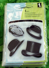 Inkadinkado Mini Acrylic Rubber Stamps - MEN'S HATS CAPS TOP HAT FEDORA 4 Pieces