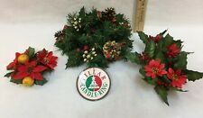 Christmas Candle Rings Pillar & Taper Berries Pine Cones Poinsettias Lot of 3