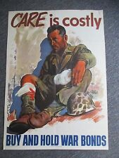 1945 World War II CARE IS COSTLY WAR BONDS Poster