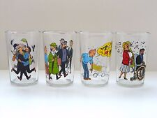 VERY RARE COMPLETE COLLECTION (4)  2 FACES TINTIN GLASSES AMORA@LOMBARD 1983