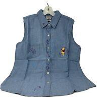 Disney Store Winnie The Pooh Sleeveless Light Denim Shirt Button Down  Large
