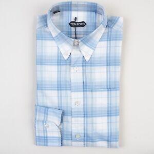 NWT Tom Ford Dress Shirt 44 / 17 1/2 Casual Fit Check Blue White BGE Button Down