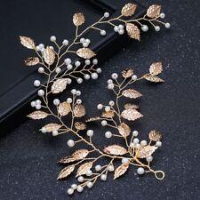 Gold Wedding Clip Jewelry Leaf Rhinestone Vines Bridal Hair Tiara Headband
