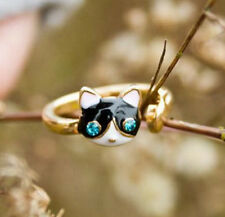 Sweet Cute Cat & Fish Open Rings Personality Oil Kitten Rhinestone Ring