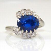 Vintage 14K White Gold Blue Spinel Diamond Ring Size 6  GGB